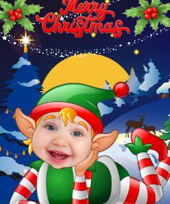 novelty elf child laying card