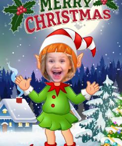 novelty elf girl happy xmas card